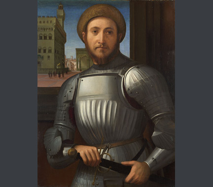 Attributed to Francesco Granacci: 'Portrait of a Man in Armour'.