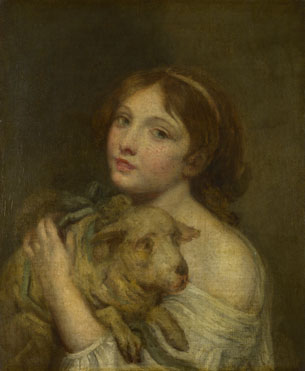 Jean-Baptiste Greuze: 'A Girl with a Lamb'