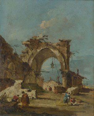 Francesco Guardi: 'A Caprice with a Ruined Arch'