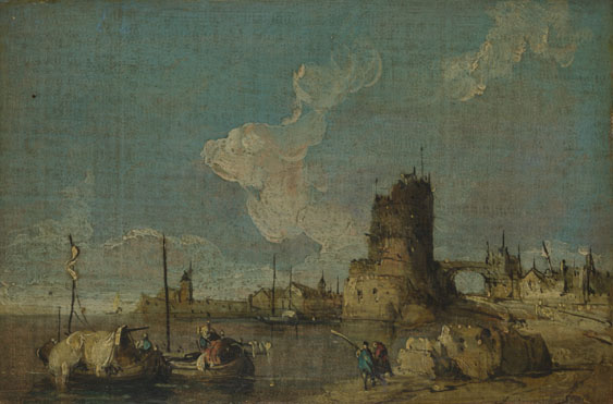 Imitator of Francesco Guardi: 'A Ruin Caprice'