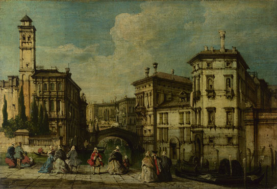 Imitator of Francesco Guardi: 'Venice: Entrance to the Cannaregio'