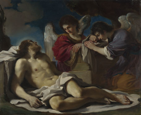 Guercino: 'The Dead Christ mourned by Two Angels'