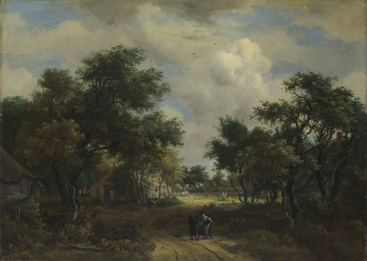 Meindert Hobbema: 'A Road winding past Cottages'