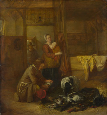 Pieter de Hooch: 'A Man with Dead Birds, and Other Figures, in a Stable'