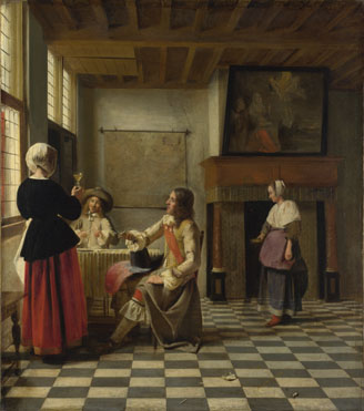 Pieter de Hooch: 'A Woman Drinking with Two Men'