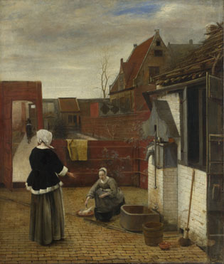 Pieter de Hooch: 'A Woman and her Maid in a Courtyard'