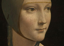 Detail from Leonardo da Vinci, 'Portrait of Cecilia Gallerani (The Lady with an Ermine)', about 1489-90.
