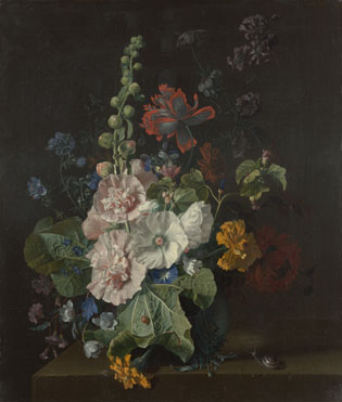 Jan van Huysum: 'Hollyhocks and Other Flowers in a Vase'