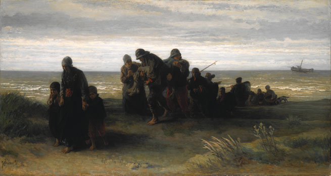 Jozef Israëls: 'Fishermen carrying a Drowned Man'