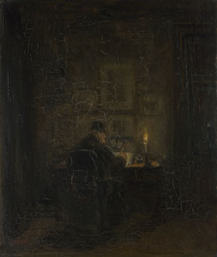 Jozef Israëls: 'An Old Man writing by Candlelight'