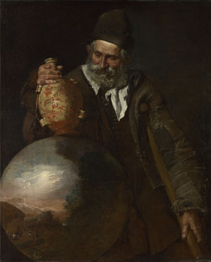 Italian: 'An Old Man holding a Pilgrim-Bottle'