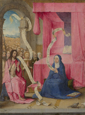 Juan de Flandes: 'Christ appearing to the Virgin'