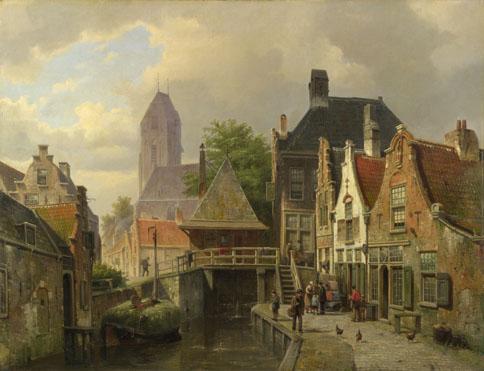 Willem Koekkoek: 'View of Oudewater'