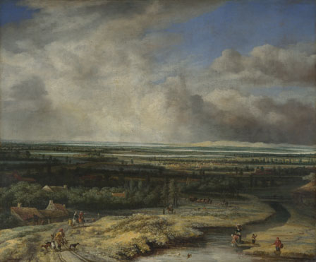 Philips Koninck: 'An Extensive Landscape with a Hawking Party'