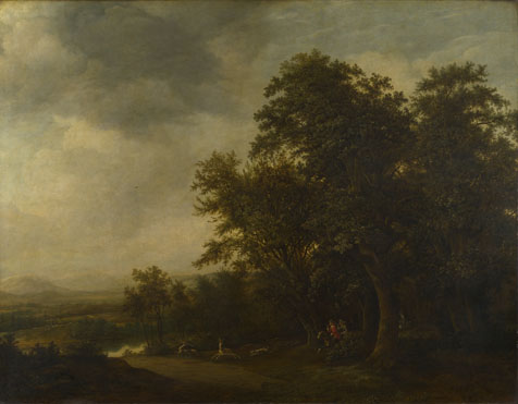 Jan de Lagoor: 'A Woody Landscape with a Stag Hunt'