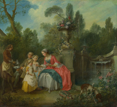 Nicolas Lancret: 'A Lady in a Garden taking Coffee with some Children'