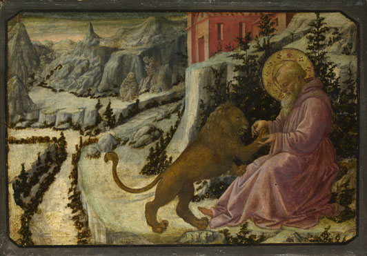 Fra Filippo Lippi and workshop: 'Saint Jerome and the Lion: Predella Panel'