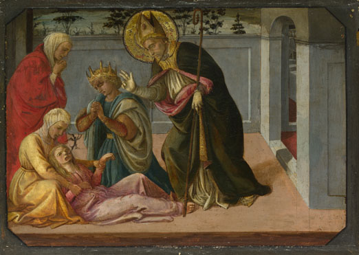 Fra Filippo Lippi and workshop: 'Saint Zeno exorcising the Daughter of Gallienus'
