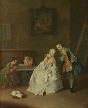 Pietro Longhi: 'A Lady receiving a Cavalier'