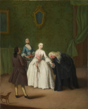 Pietro Longhi: 'A Nobleman kissing a Lady's Hand'