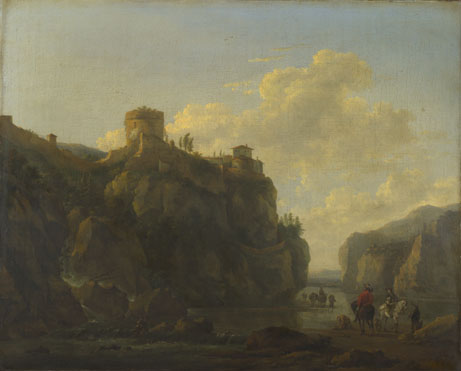 Lodewijck van Ludick: 'A River between Rocky Cliffs'