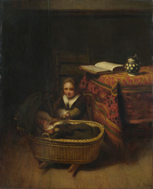 Nicolaes Maes: 'A Little Girl rocking a Cradle'