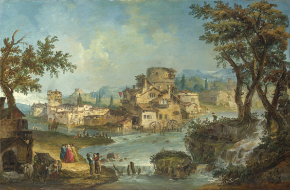 Michiel Giovanni Marieschi: 'Buildings and Figures near a River with Rapids'