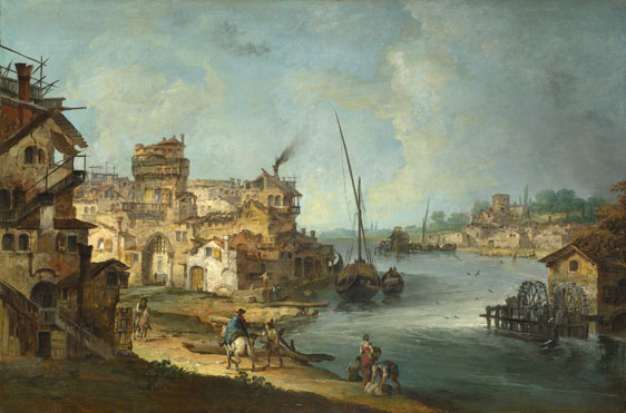 Michiel Giovanni Marieschi: 'Buildings and Figures near a River with Shipping'