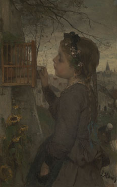 Jacob Maris: 'A Girl feeding a Bird in a Cage'