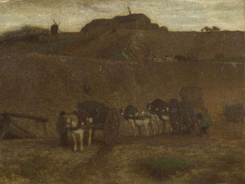 Matthijs Maris: 'Men unloading Carts, Montmartre'