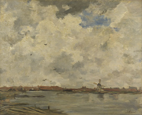 Jacob Maris: 'A Windmill and Houses beside Water: Stormy Sky'