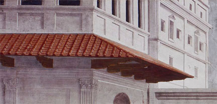 Masaccio: Detail showing architecture in the background from 'The Raising of the Son of Theophilus'.