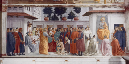 Masaccio: 'The Raising of the Son of Theophilus'.