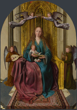 Quinten Massys: 'The Virgin and Child Enthroned, with Four Angels'