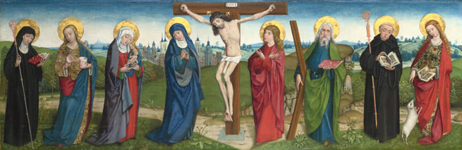 Attributed to the Master of Liesborn: 'The Crucifixion with Saints'