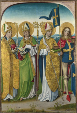 Workshop of the Master of the Life of the Virgin: 'Saints Augustine, Hubert, Ludger (?) and Gereon (?)'