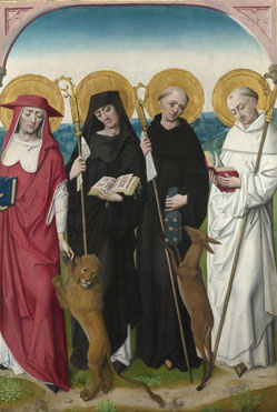 Workshop of the Master of the Life of the Virgin: 'Saints Jerome, Bernard (?), Giles and Benedict (?)'