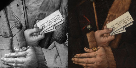 Detail of Master of the Mornauer Portrait, 'Portrait of Alexander Mornauer', about 1464-88, reflectogram, comparison with original