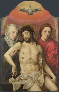 Workshop of the Master of the Prodigal Son: 'The Dead Christ supported by the Virgin and Saint John'