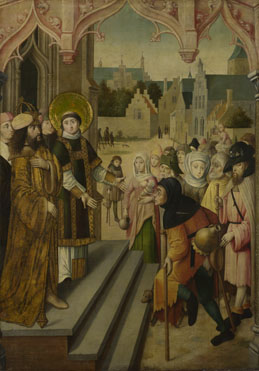 Circle of the Master of the Saint Ursula Legend (Cologne): 'Saint Lawrence before the Prefect'