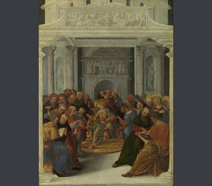 Lodovico Mazzolino: 'Christ Disputing with the Doctors'.
