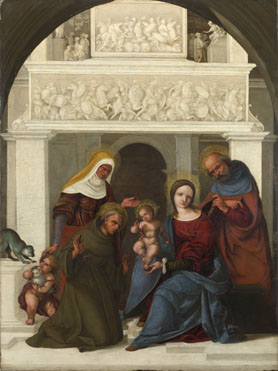Lodovico Mazzolino: 'The Holy Family with Saint Francis'