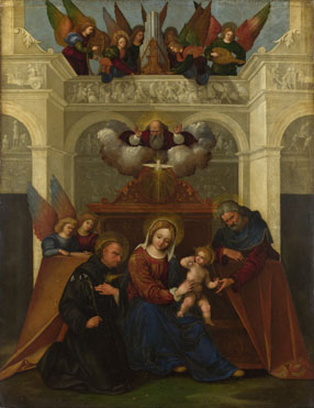 Lodovico Mazzolino: 'The Holy Family with Saint Nicholas of Tolentino'