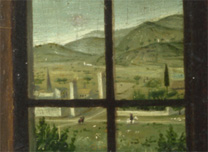 Antonello da Messina: Detail of the distant view from 'Saint Jerome in his Study'.