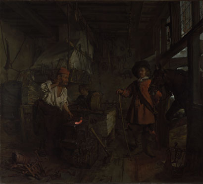 Gabriel Metsu: 'The Interior of a Smithy'