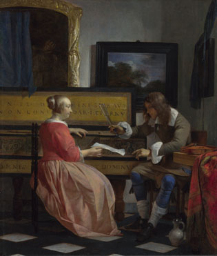 Gabriel Metsu: 'A Man and a Woman seated by a Virginal'