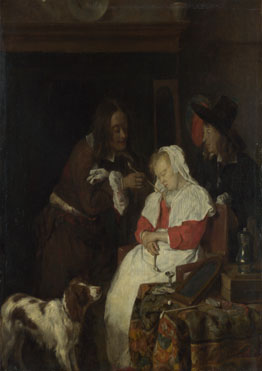 Gabriel Metsu: 'Two Men with a Sleeping Woman'