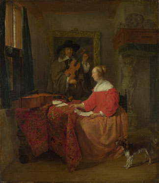 Gabriel Metsu: 'A Woman seated at a Table and a Man tuning a Violin'