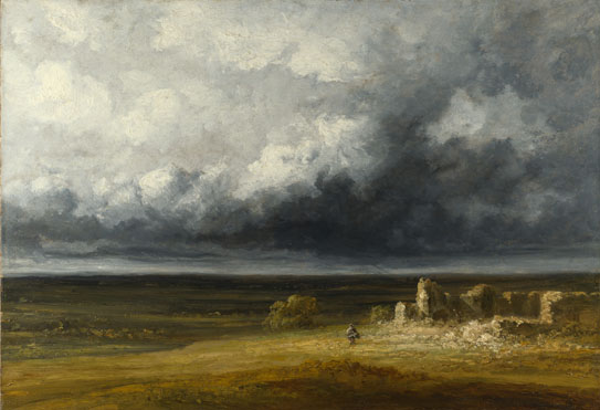 Georges Michel: 'Stormy Landscape with Ruins on a Plain'