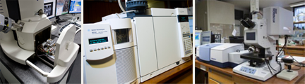 Analytical equipment used by scientists working at the National Gallery, London: (from left to right) scanning electron microscope with energy dispersive X-ray analysis, gas chromatography – mass spectrometry and infrared spectroscopy.